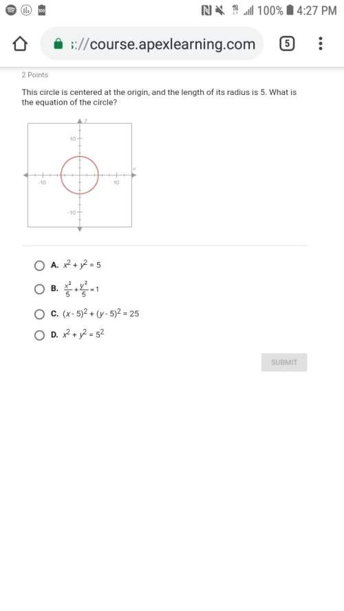 This circle is centered at the origin, and the length of its radius is 4. what is the equation of th