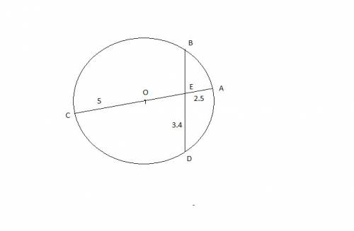 P; lease  35  in the diagram, diameter ac intersects chord bd at point e such that ae = 2.5 units an