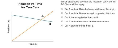 Which statements describe the motion of car a and car b? check all that apply.