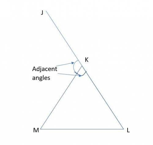 Triangle K M L Is Shown. Line L K Extends Through Point J