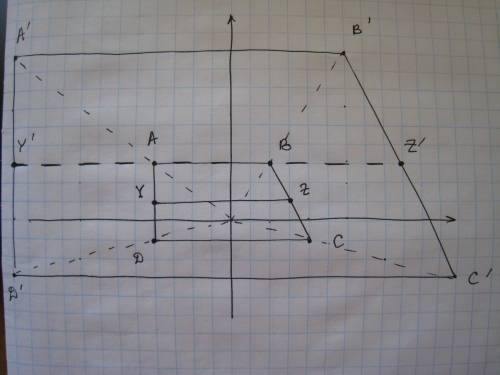 The coordinates of trapezoid abcd are a(−4, 3), b(2, 3), c(4, −1) and d(−4, −1). a line segment runs
